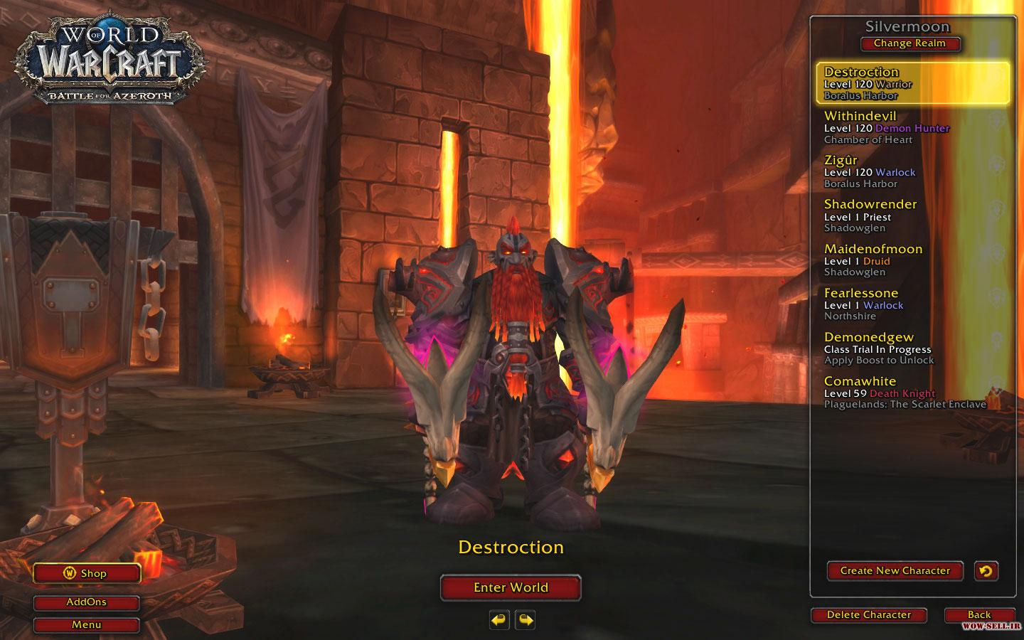 فروش اکانت wow - کد 1108 - کلاس warrior + warlock + demon hunter - سرور battle.net