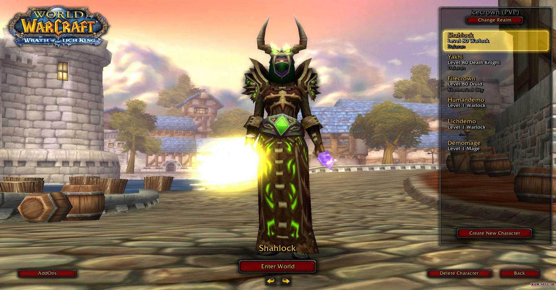 فروش اکانت wow - کد 1109 - کلاس warlock + death knight + druid - سرور warmane.com