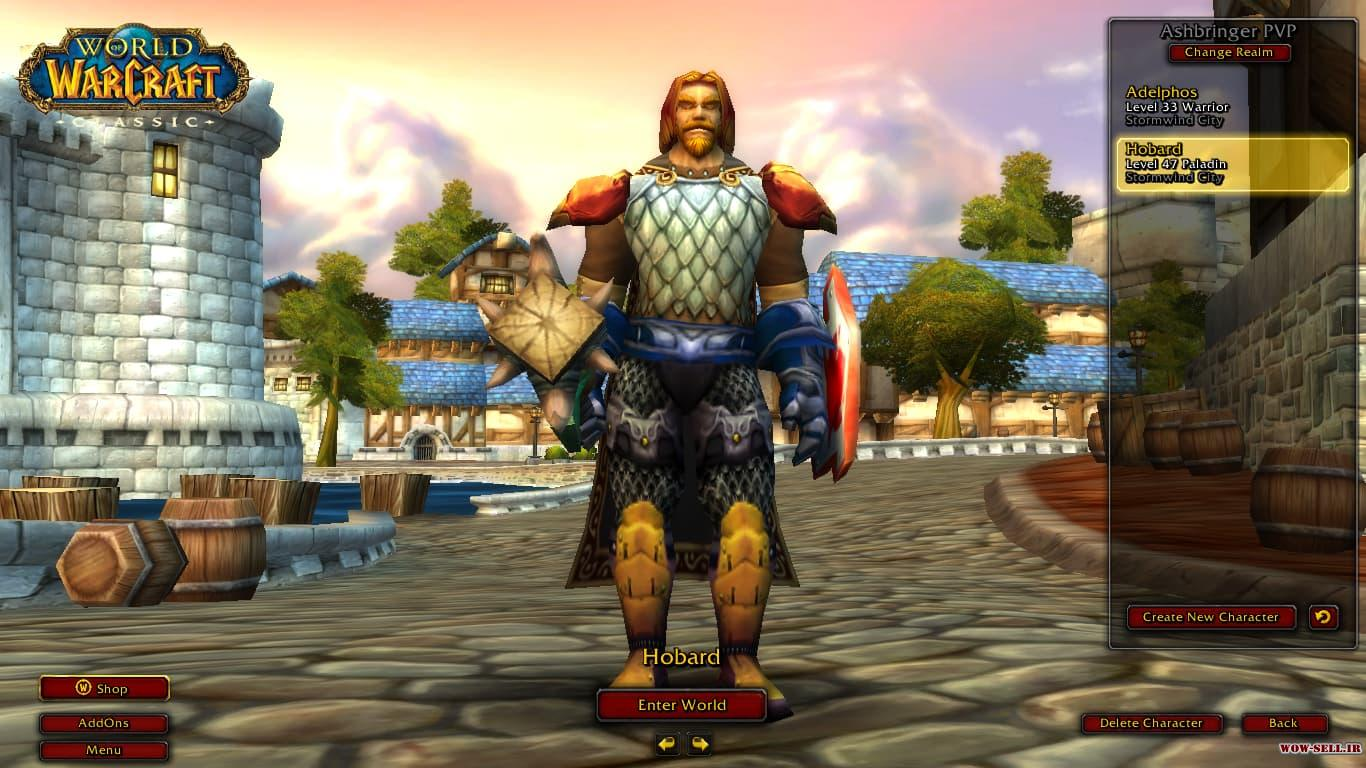 فروش اکانت wow - کد 1115 - کلاس paladin + warrior - نسخه Classic - سرور Battle.net