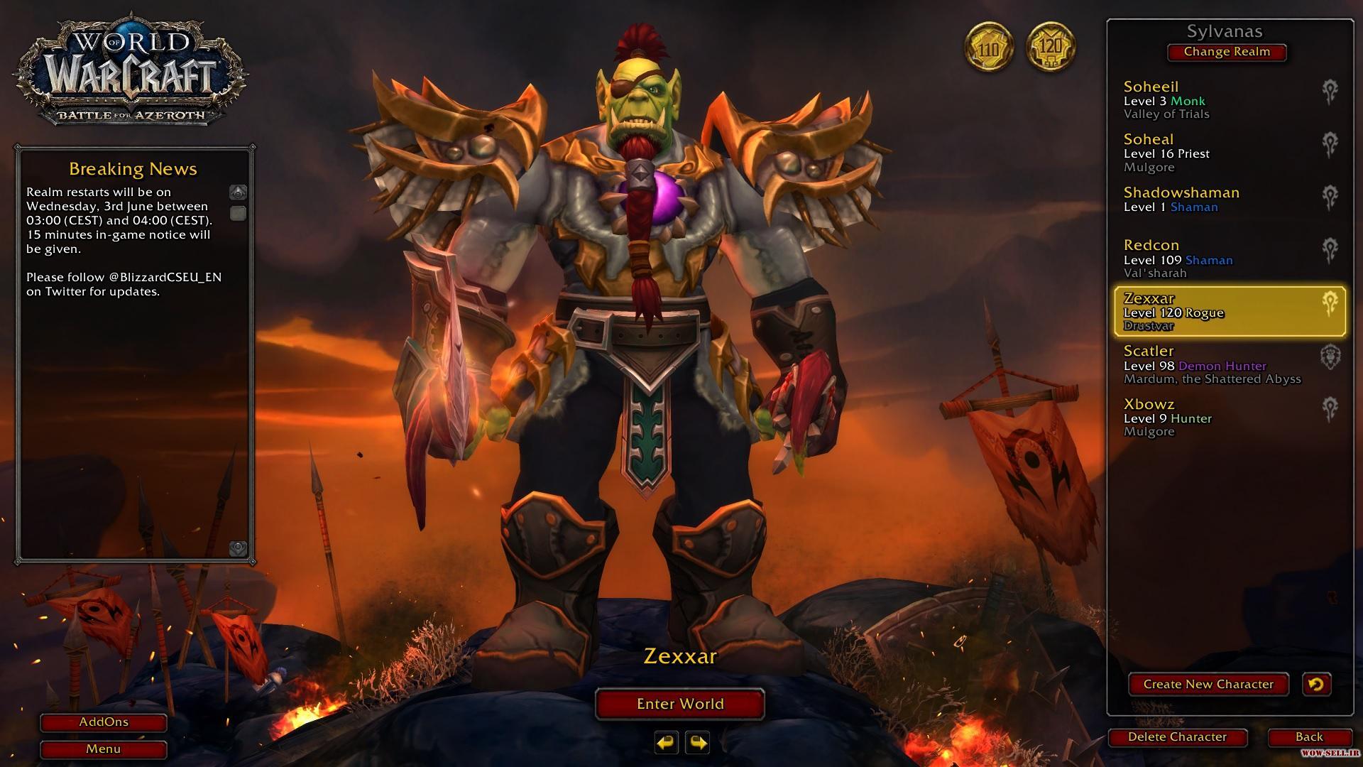 فروش اکانت wow - کد 1121 - کلاس Rouge + shaman - سرور Battle.net