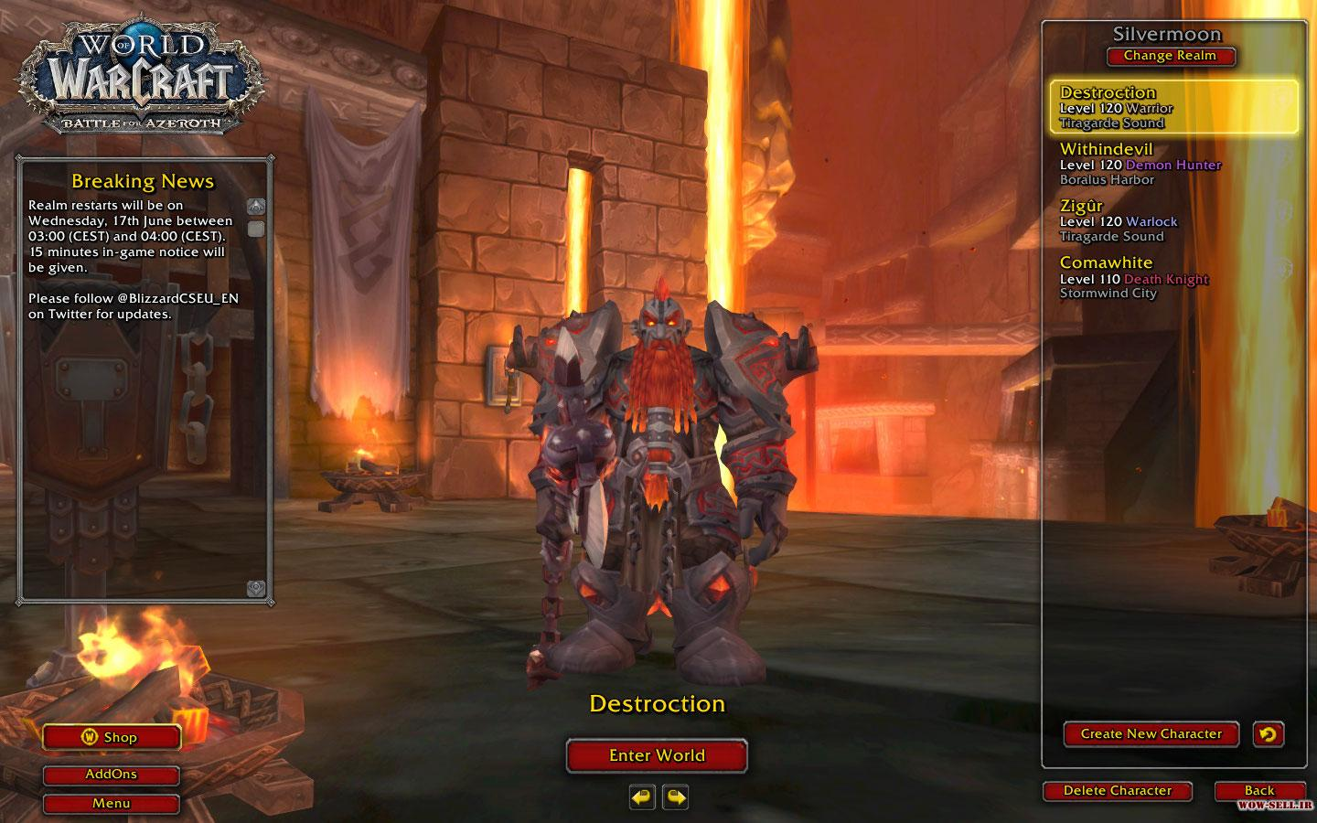 فروش اکانت wow - کد 1127 - کلاس warrior + warlock + death knight + demon hunter - سرور Battle.net