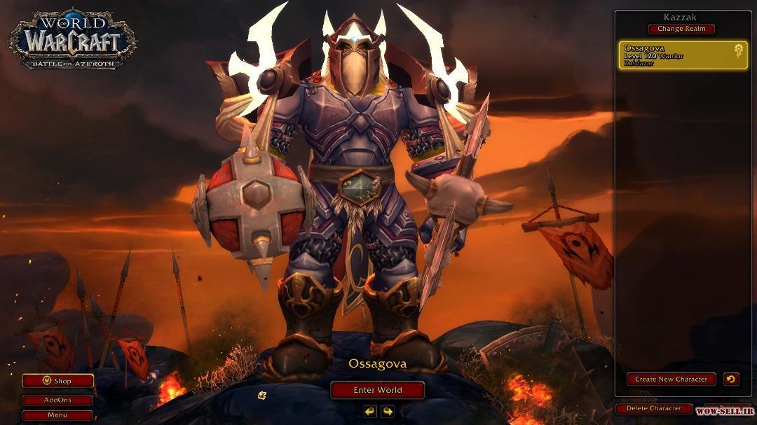 فروش اکانت wow - کد 1129 - کلاس Warrior - سرور Battle.net