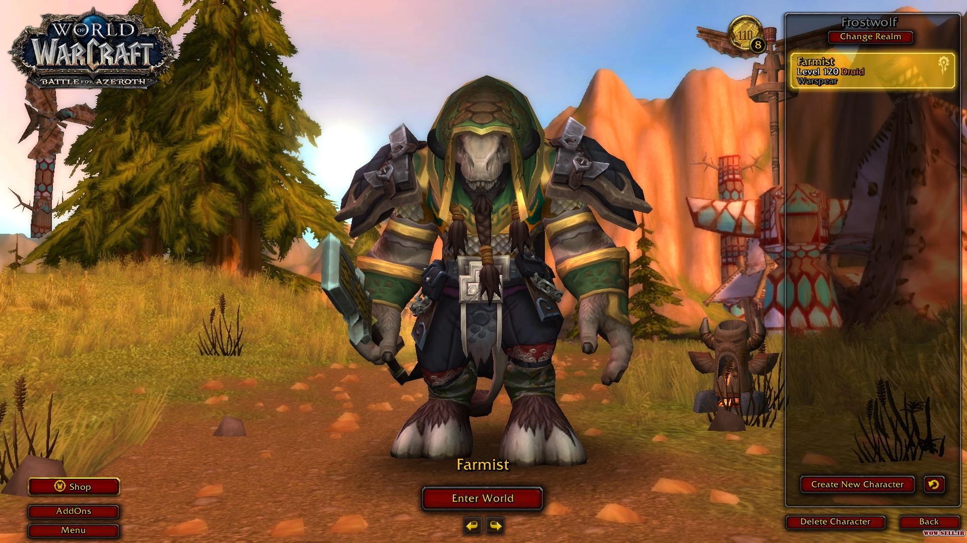 فروش اکانت wow - کد 1147 - کلاس Druid - دارای 8 اکانت فارم + دارای نسخه بازی Shadowlands - سرور Battle.net
