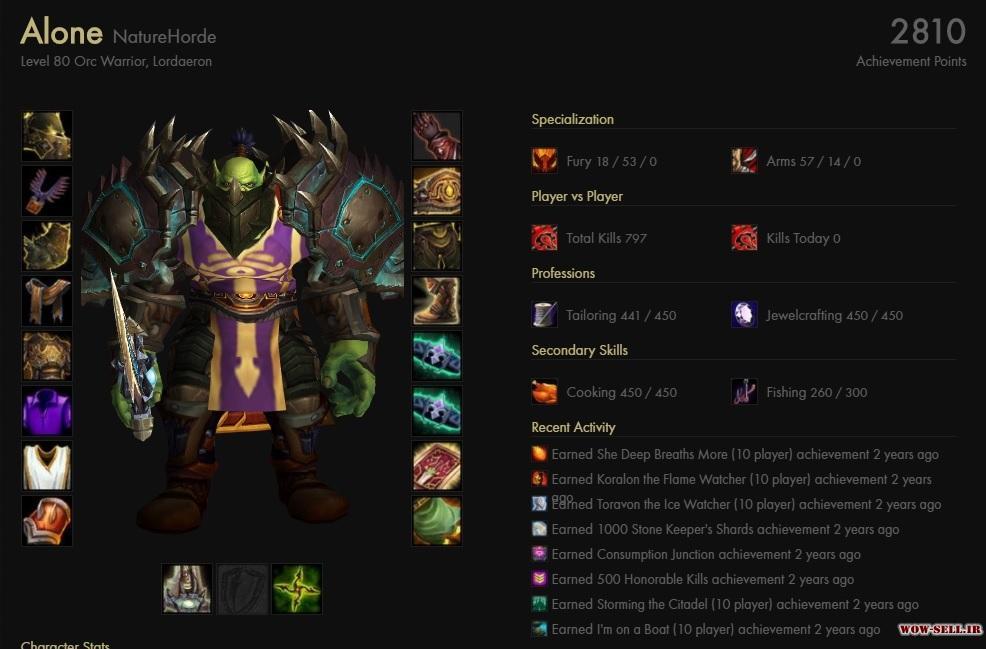 فروش اکانت wow - کد 1150 - کلاس warrior - سرور Warmane.com