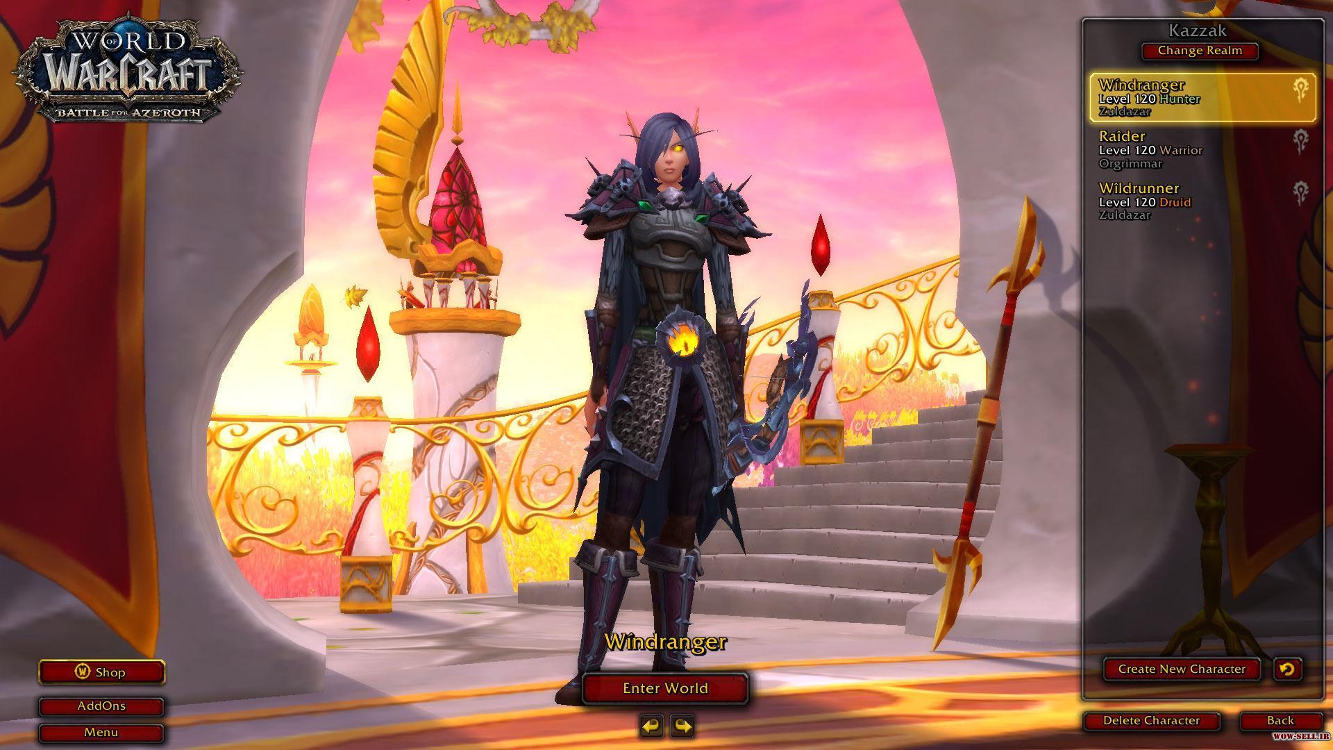 فروش اکانت wow - کد 1154 - کلاس هیرو ها : Hunter، Warrior، Druid - سرور Battle.net